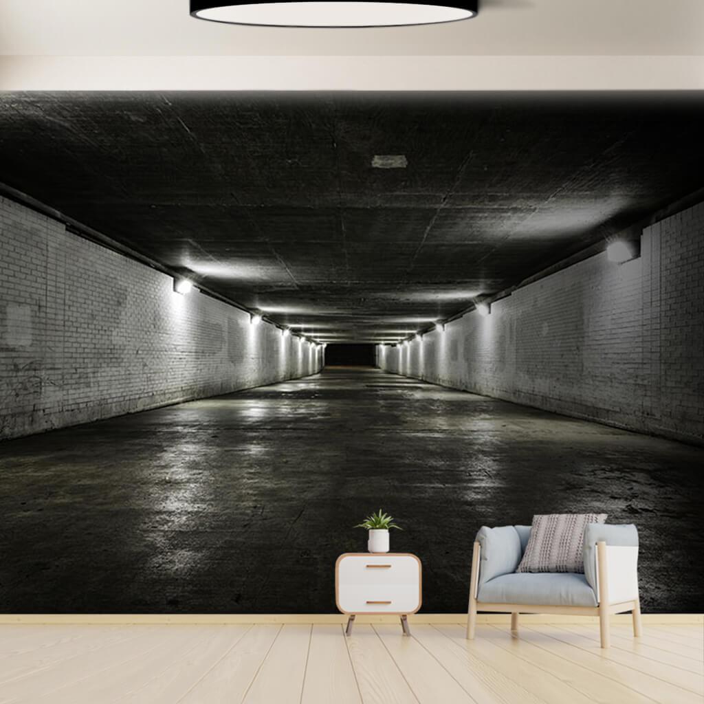 Beyaz tuğla desenli dikdörtgen tünel 3 boyutlu duvar kağıdı