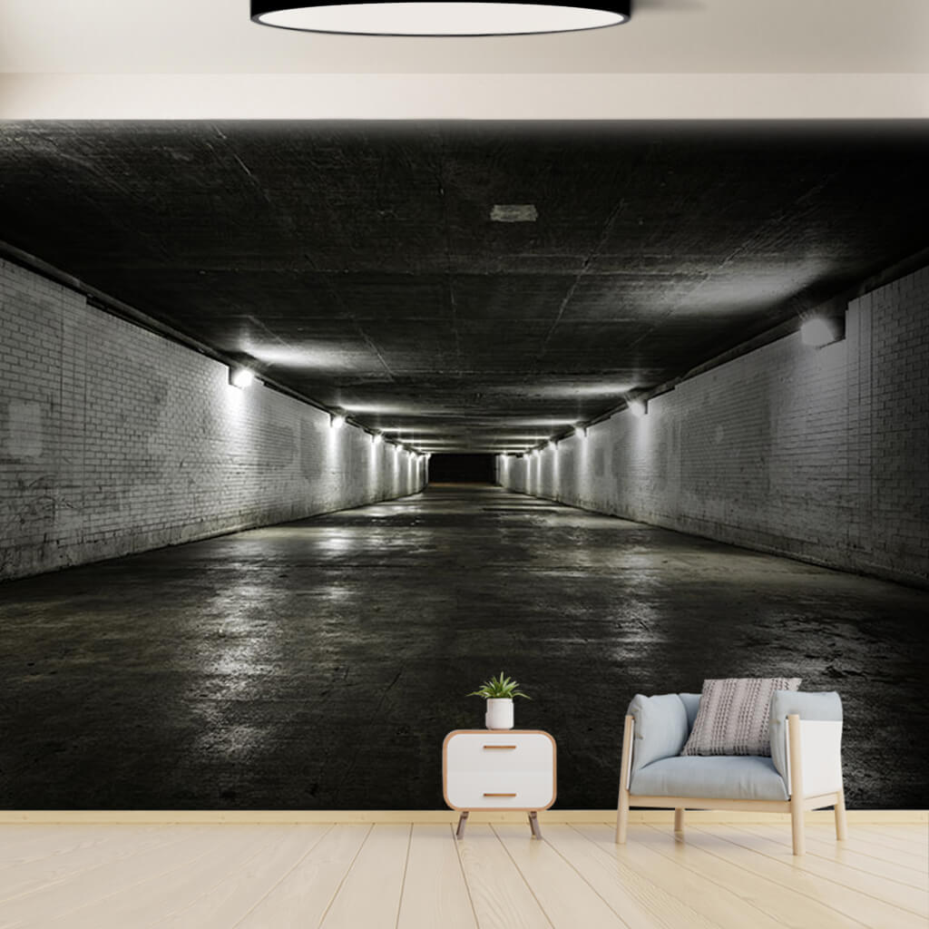 Rectangular tunnel with white brick pattern 3D wall mural
