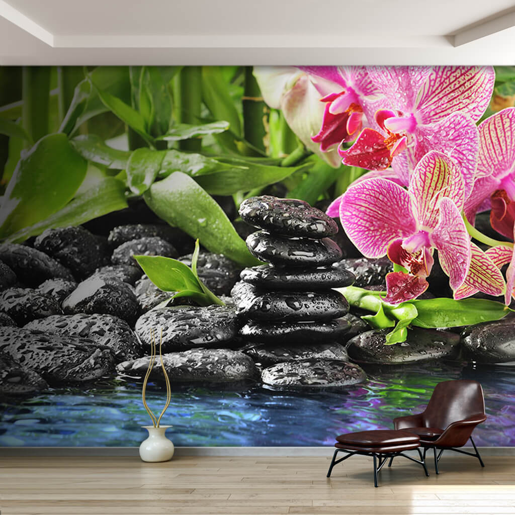 Black stones green leaves and pink orchids custom wall mural