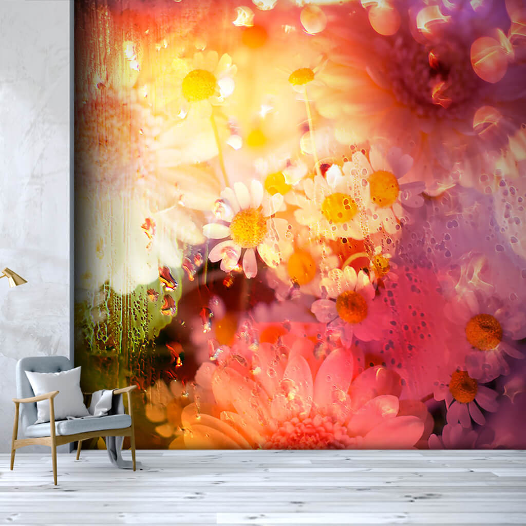 Daisy Chamomile gerbera flowers abstract art wall mural