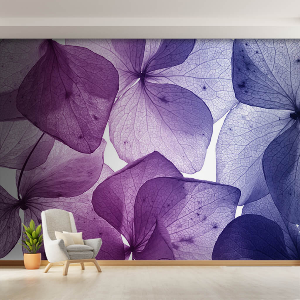 Section of purple violet flowers close-up detail wall mural