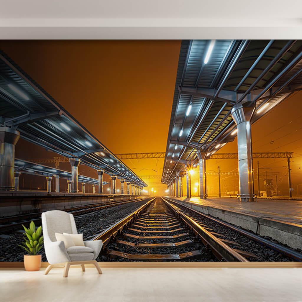 Gece tren rayları Donetsk demiryolu 3 boyutlu duvar kağıdı