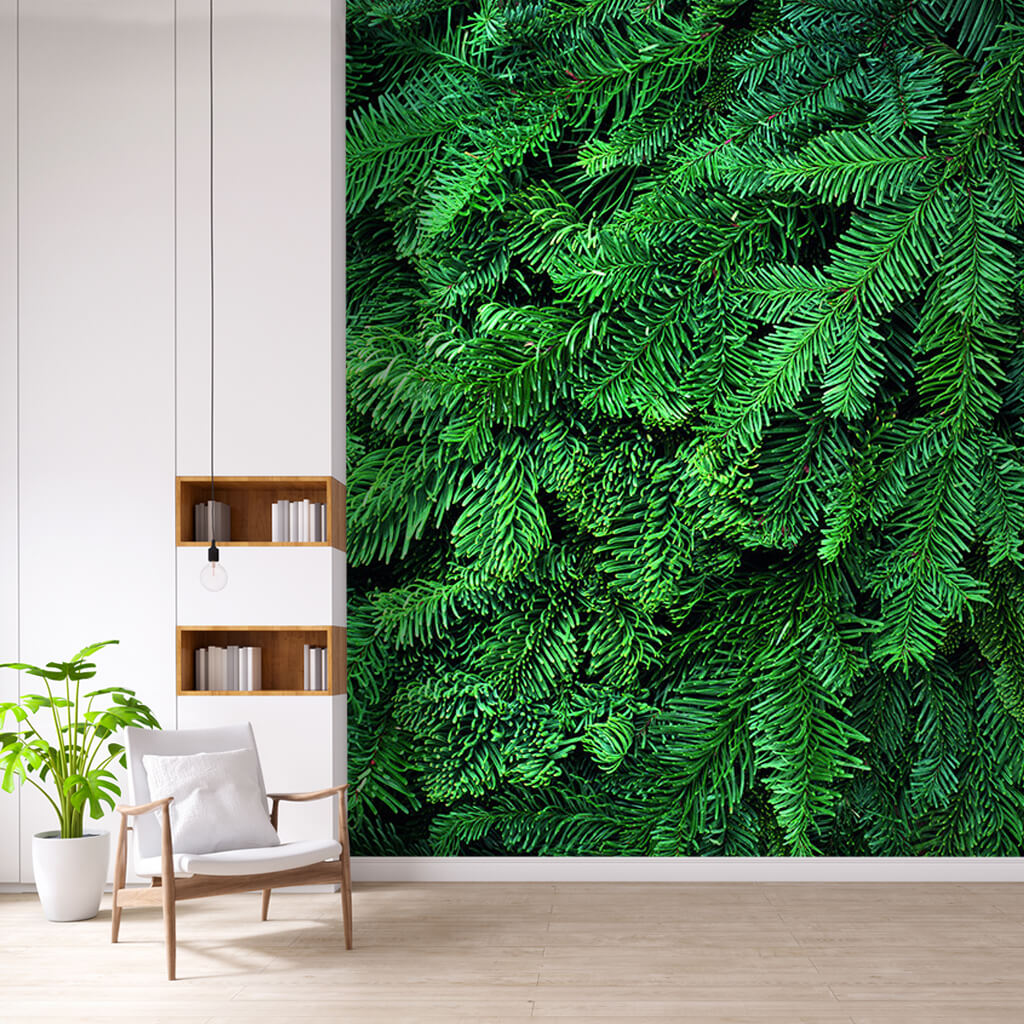 Detail of green grass with dew drops on it custom wall mural