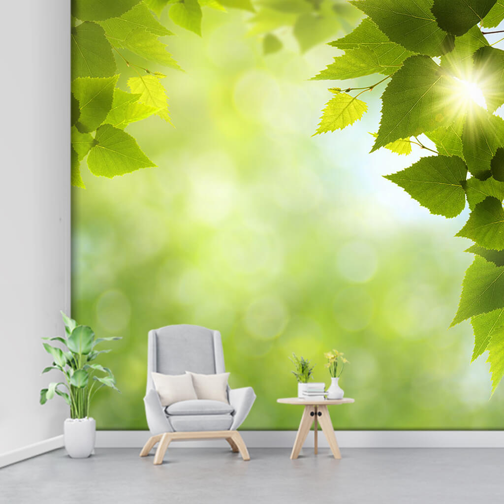 Detail of daylight seeping through spring leaves wall mural