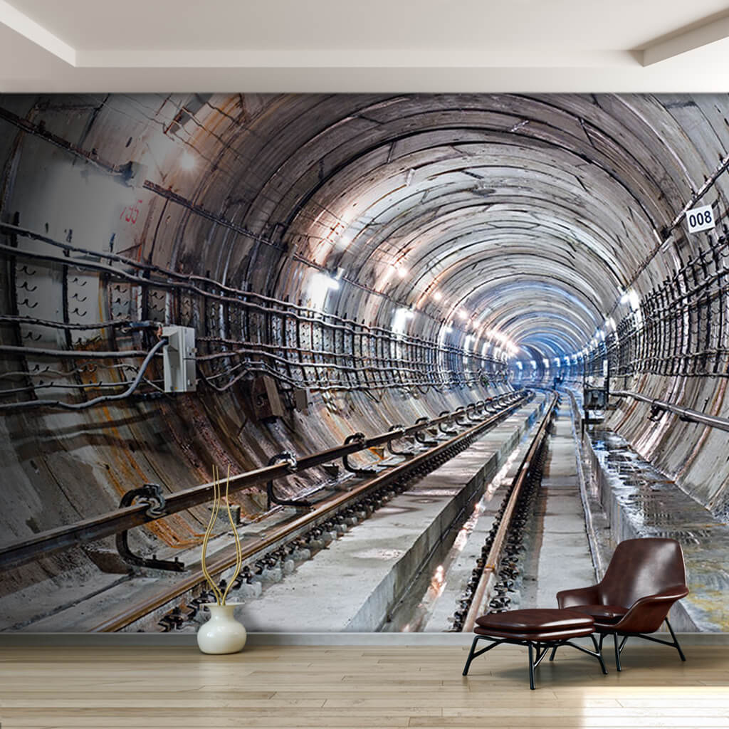 Kiev subway tunnel Ukrainian subway 3D custom wall mural
