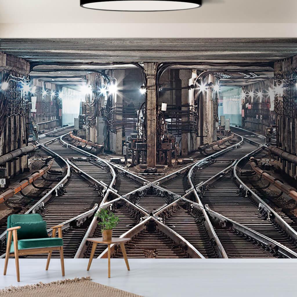 Metro tunnel transfer rails Kiev Ukraine 3D custom wall mural