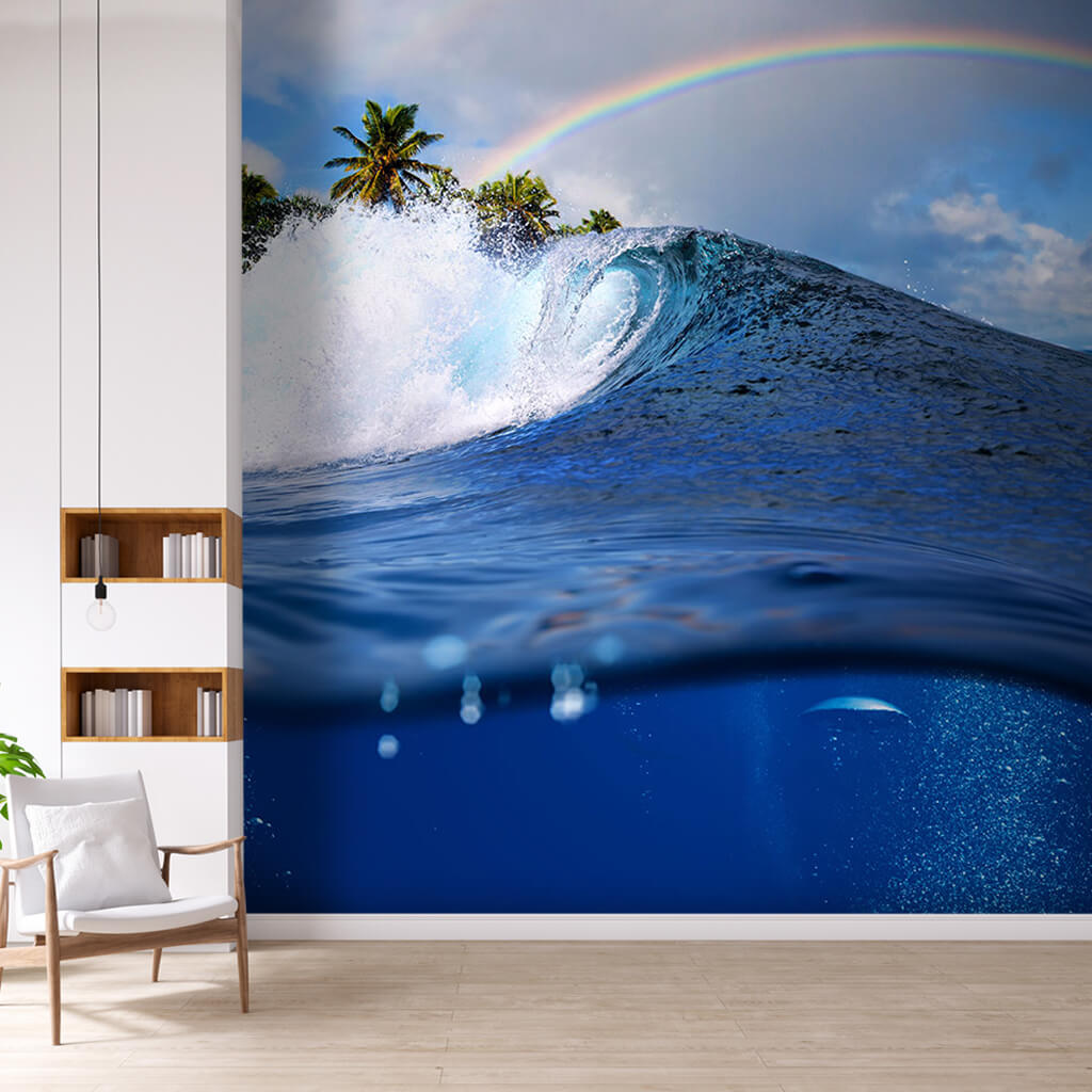 Blue ocean wave tsunami and rainbow sea custom wall mural