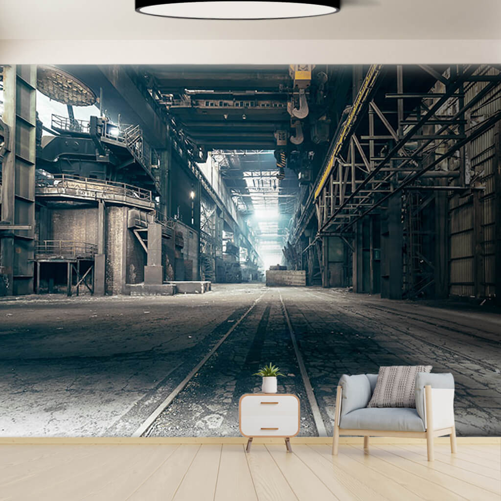 Interior view of iron steel factory 3D custom wall mural