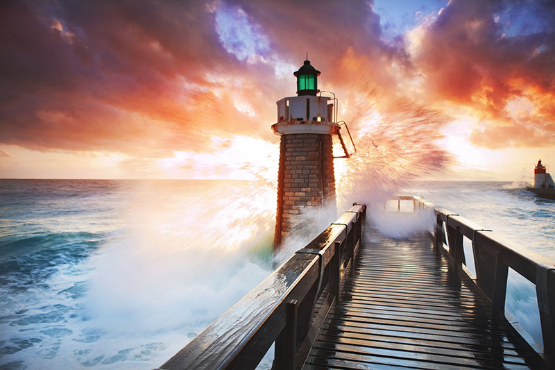 Big Wave Striking The Pier And Lighthouse Custom Wall Mural