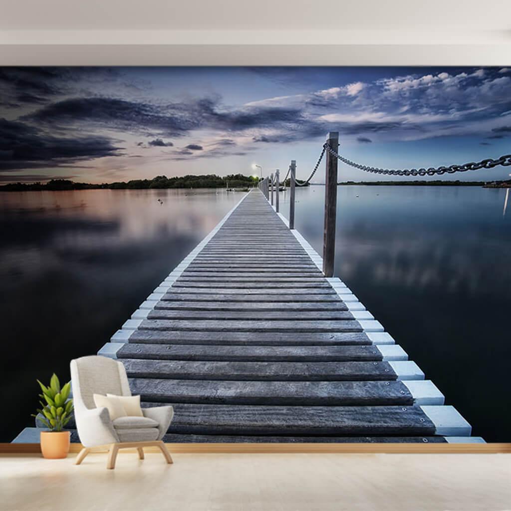 Deniz üzerinde ahşap köprü iskele marina duvar kağıdı