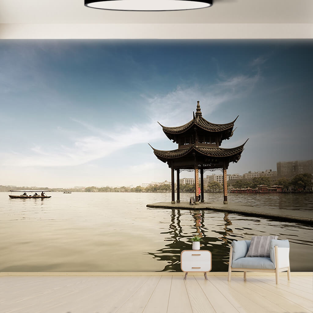 Bower on the lake Hangzhou China far east custom wall mural
