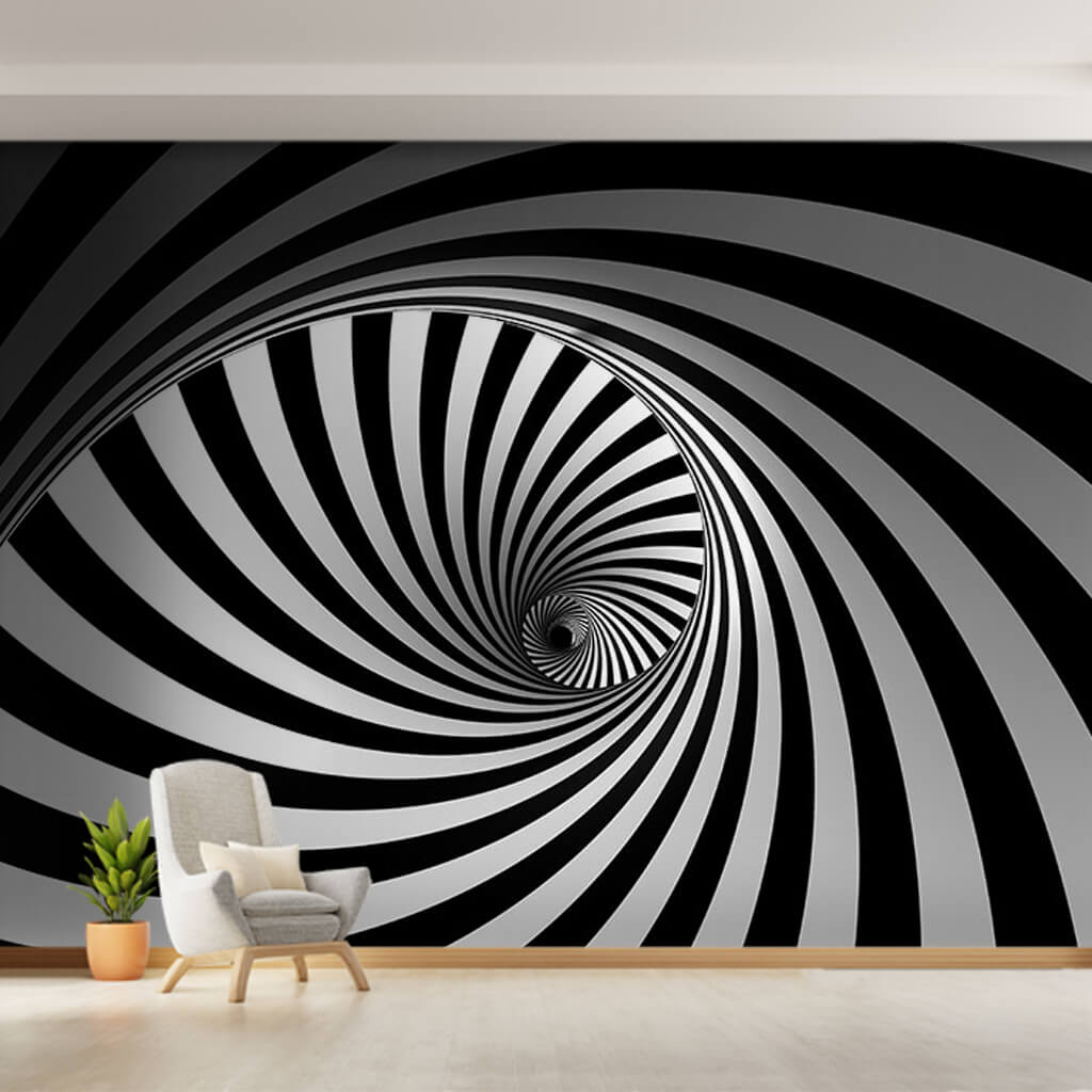 Black and white spiral lines 3D perspective custom wall mural