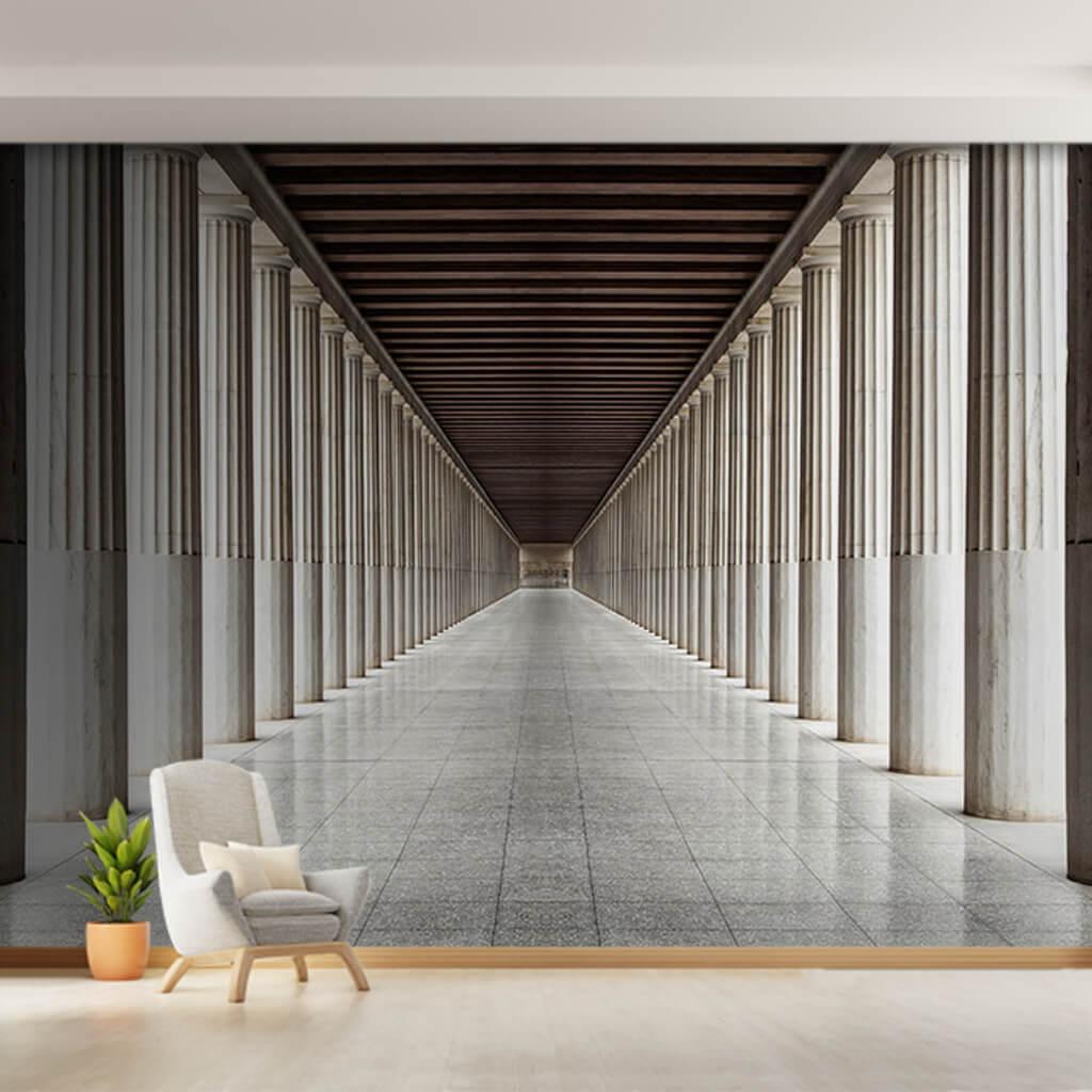 Beyaz mermer sütunlu koridor Attalos Stoası Atina duvar kağıdı