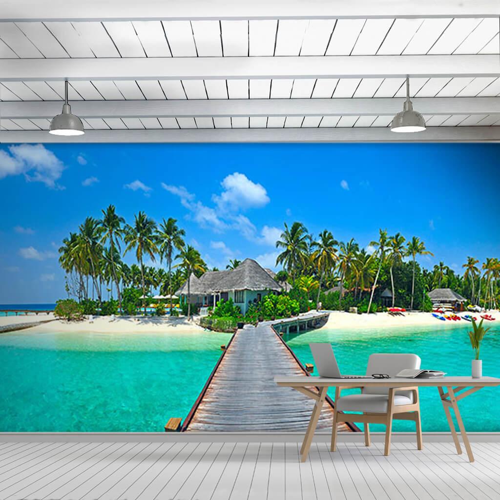 Ahşap iskele mendirek tropik Maldivler'de otel duvar kağıdı