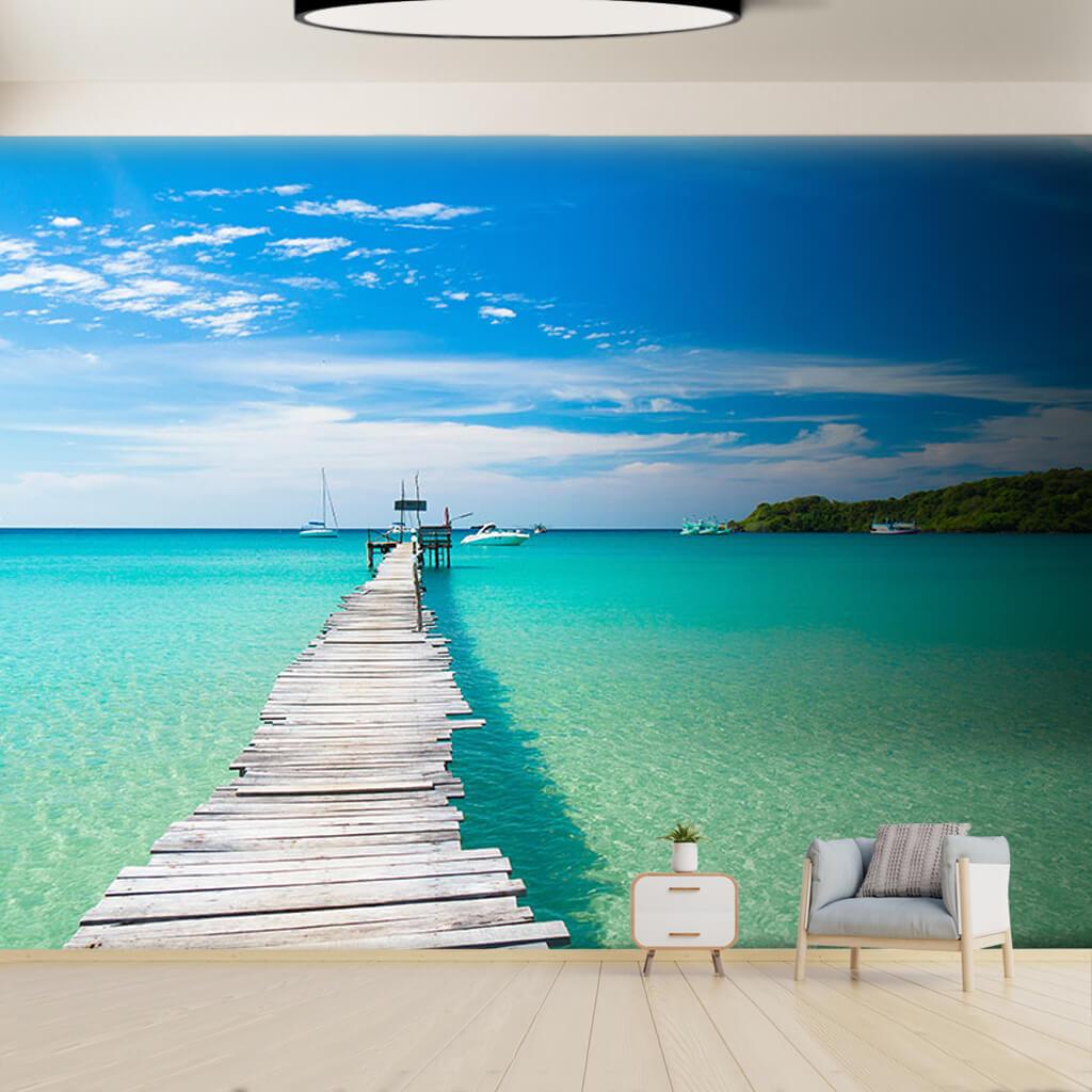 Ahşap iskele turkuaz deniz yatlar Maldivle duvar kağıdı