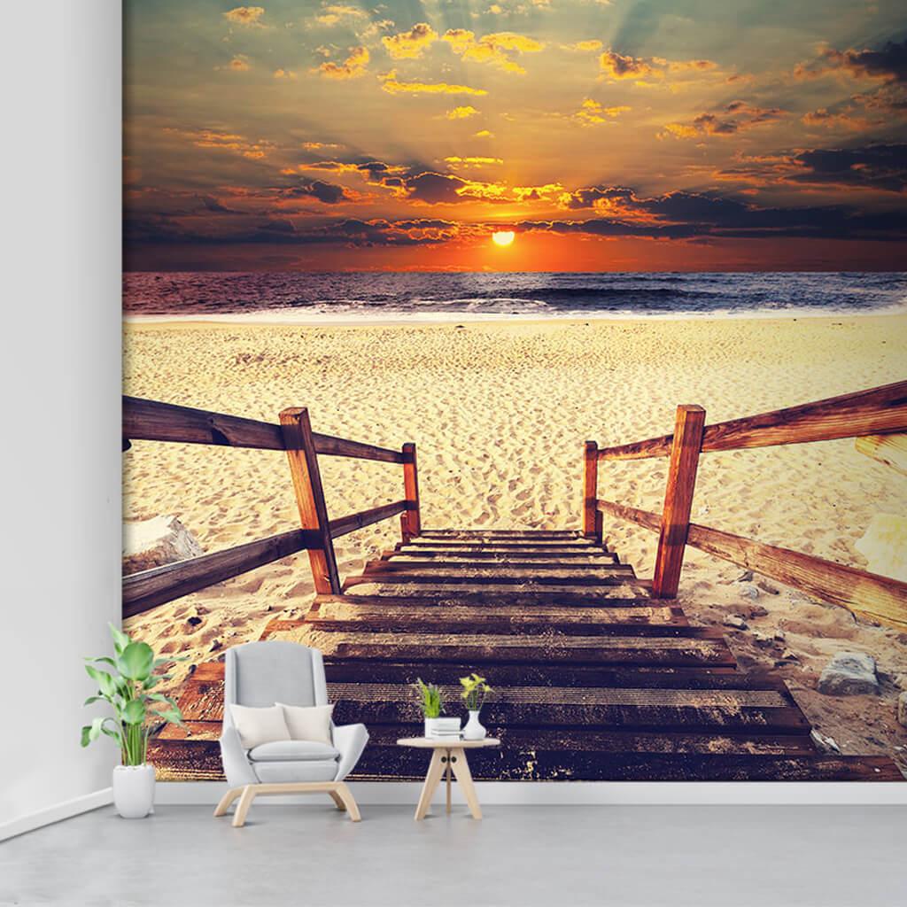 Ahşap merdivenden sahil kumsal deniz duvar kağıdı