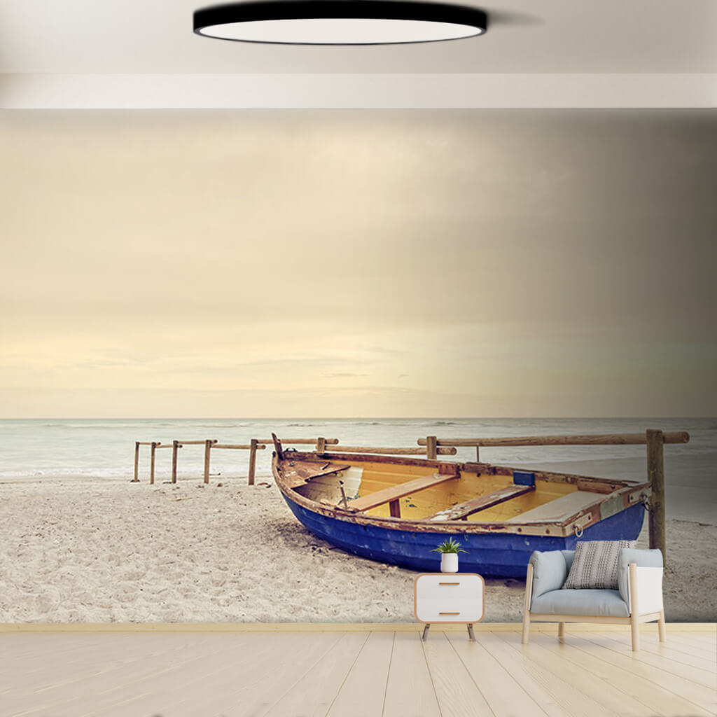 Blue kayak and misty weather on the beach custom wall mural