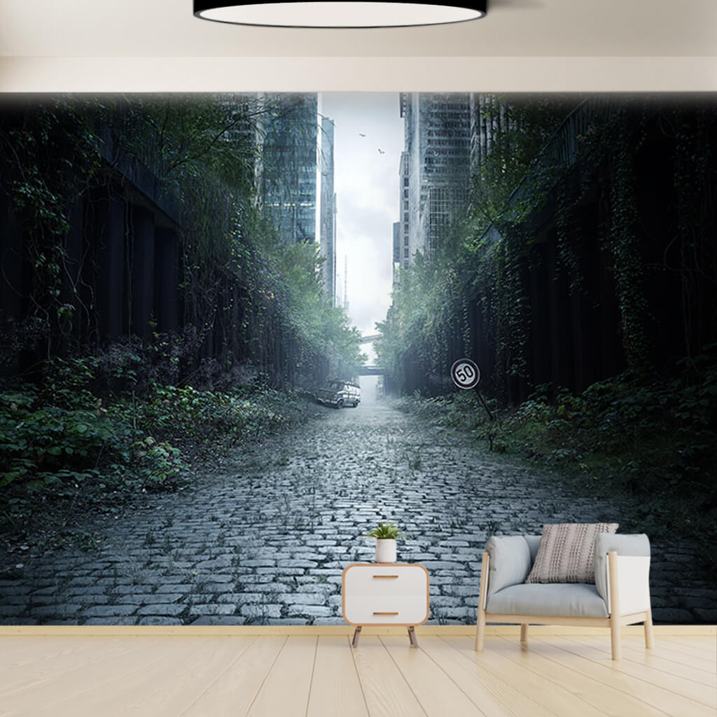 Apocalyptic abandoned city street 3D custom wall mural