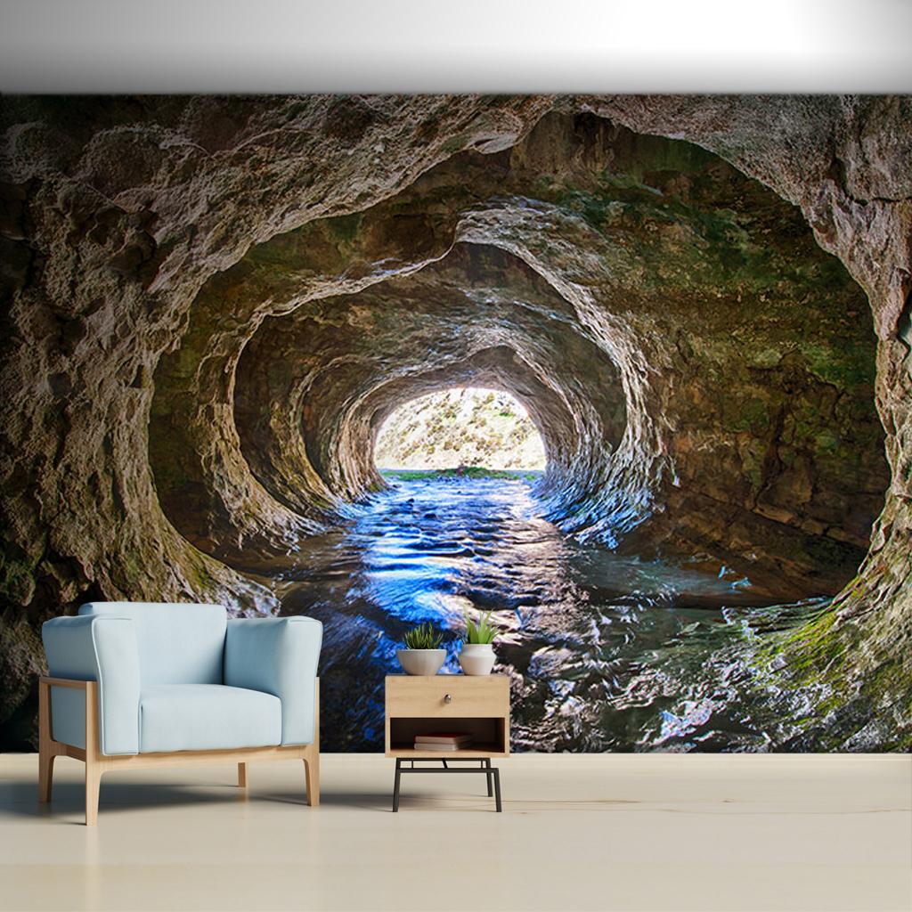 İçinden su akan mağara, Arthur's Pass, Yeni Zelanda.