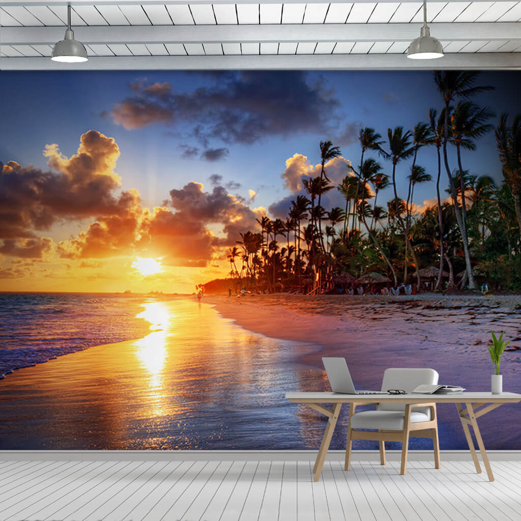Beach with windy palm trees sunset and sea custom wall mural