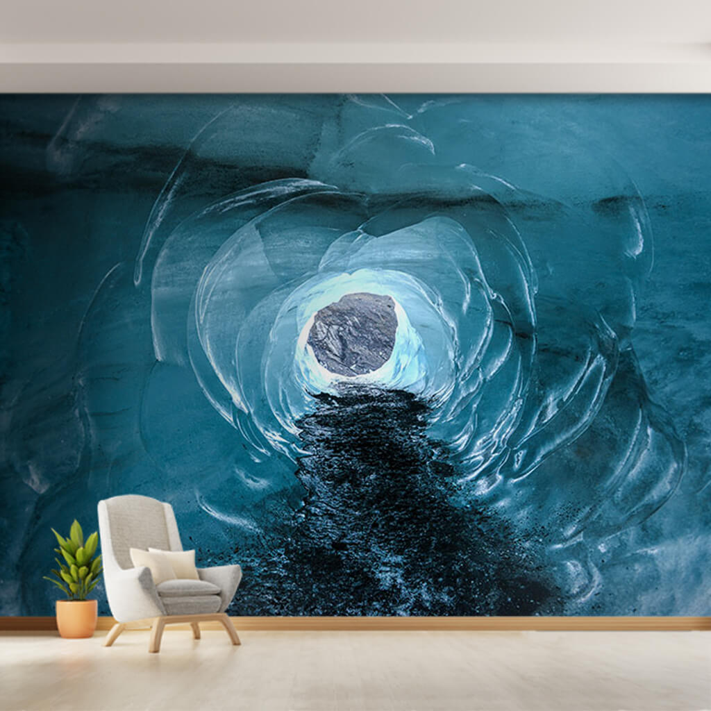 Glacier cave tunnel Iceland 3D scalable custom wall mural