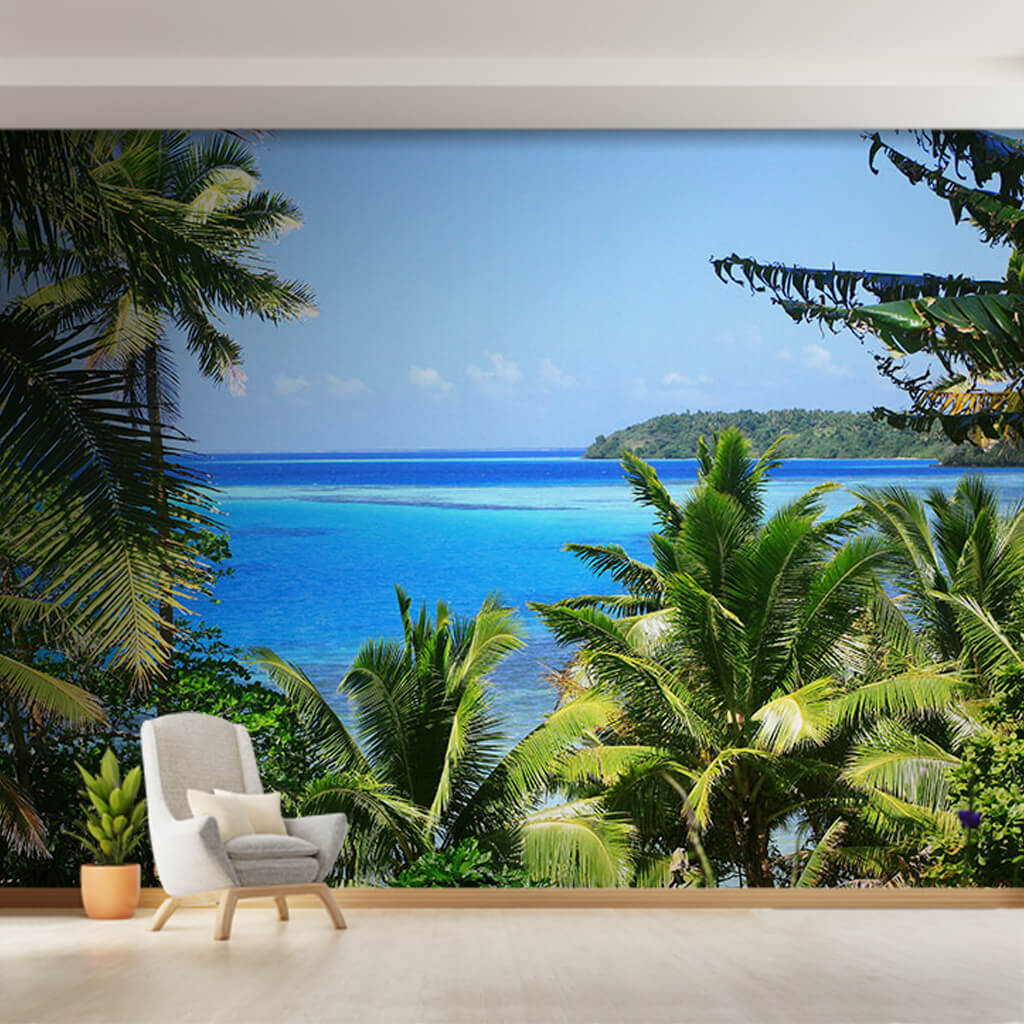 Custom wall mural of tropical palm bay and blue turquoise sea
