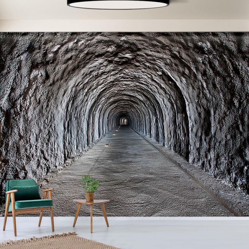Gri çimento kaplı tünel 3 boyutlu duvar kağıdı