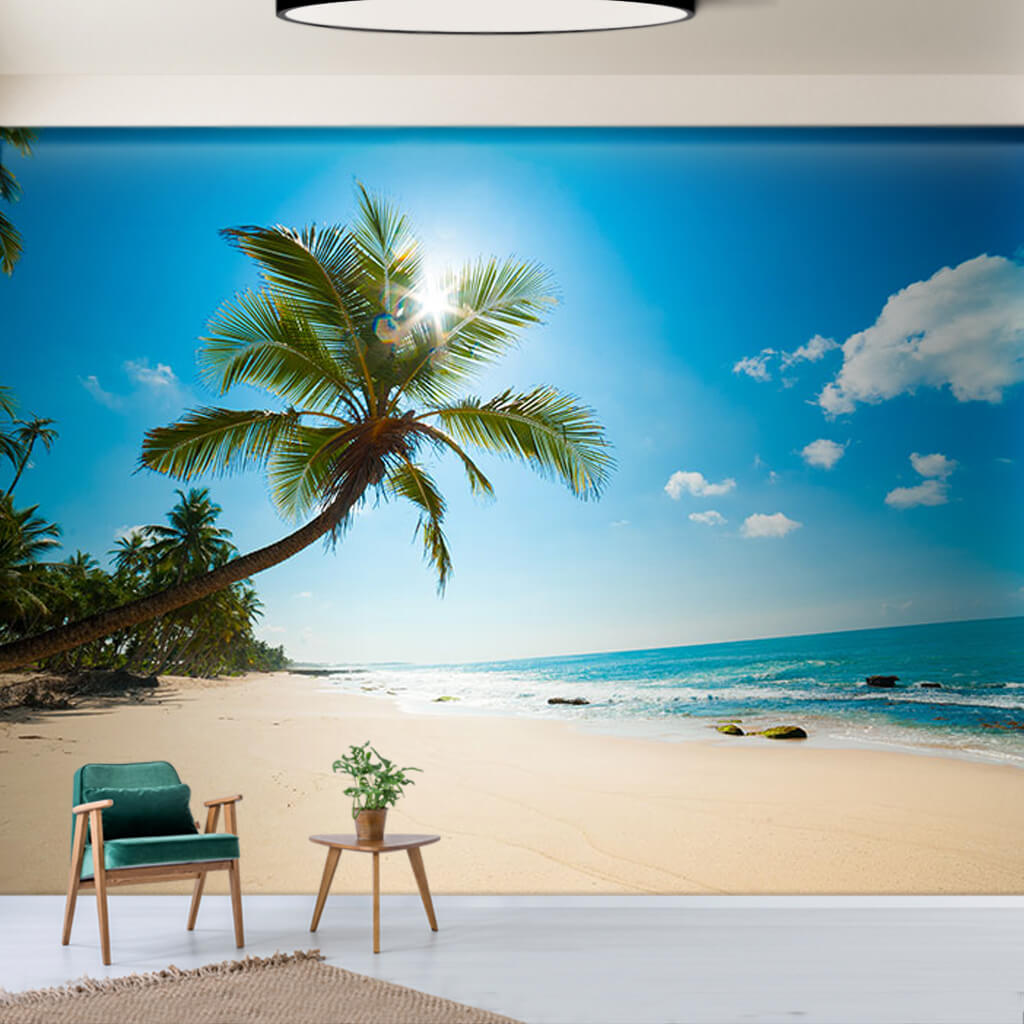 Custom wall mural of deserted beach seashore palm trees