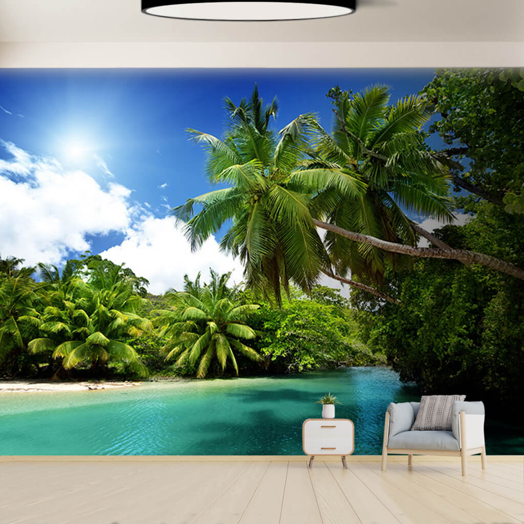 Amazon river influx Palm trees and bay custom wall mural
