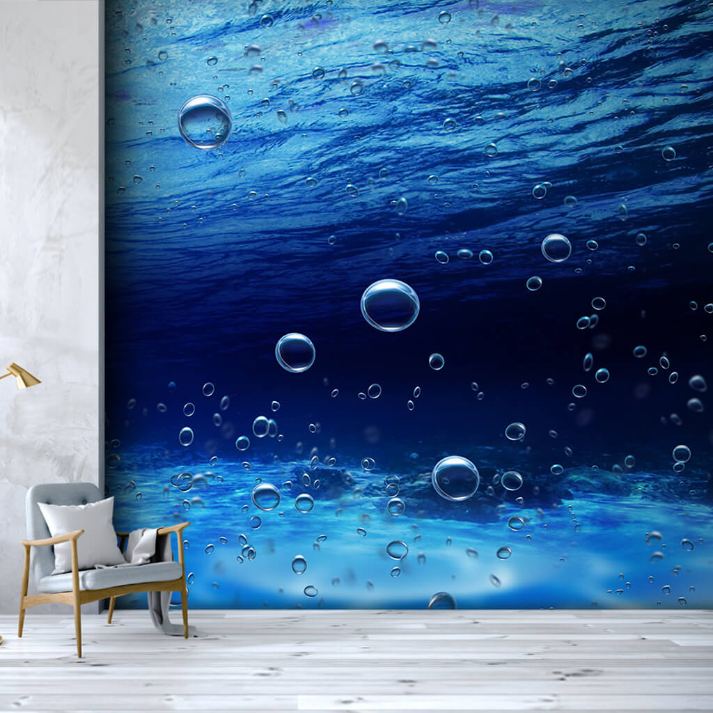Air and water bubbles under the sea custom wall mural