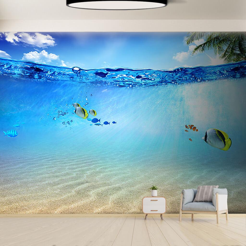 Deniz altında melek ve palyaço balıkları duvar kağıdı