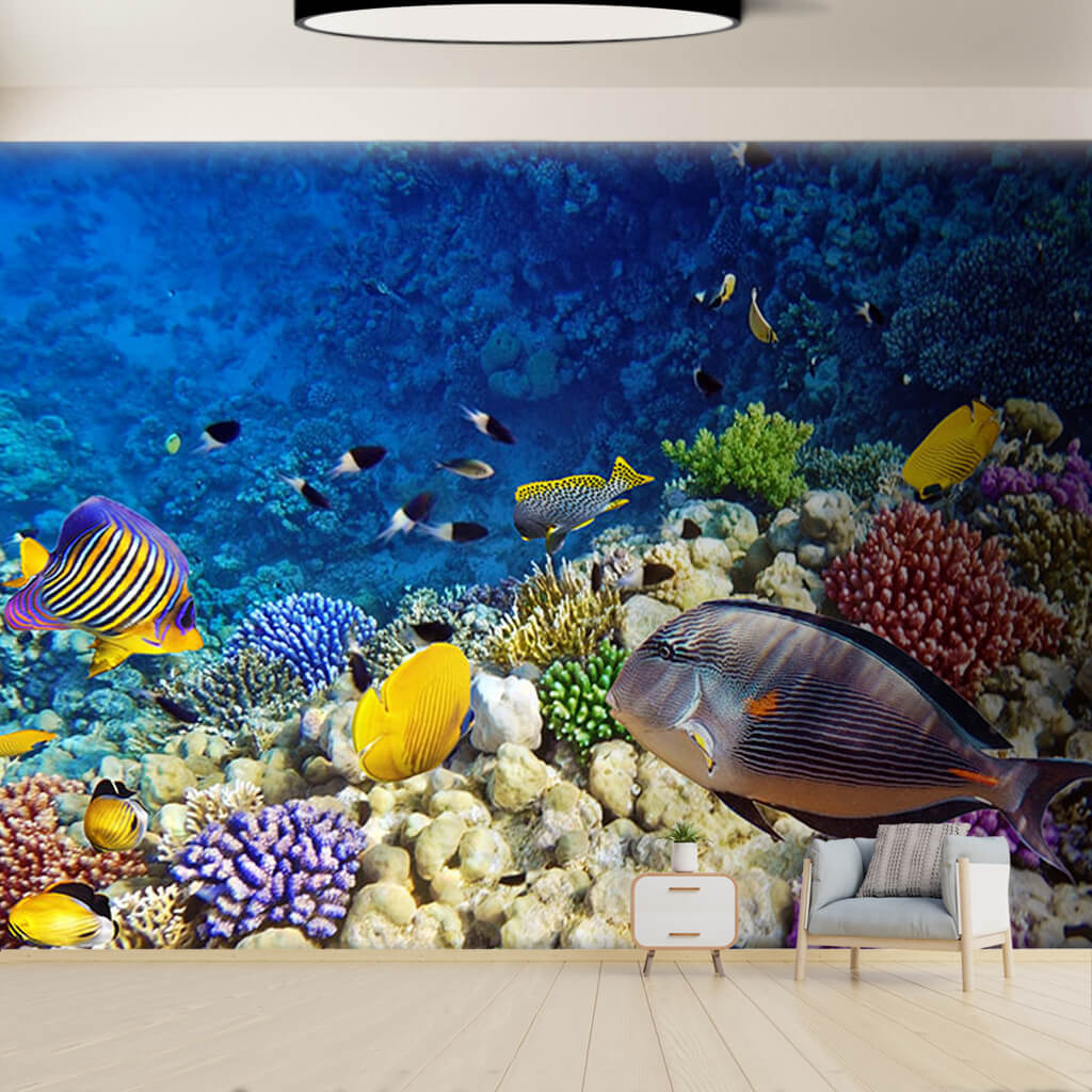 Colorful fishes in the coral reef seabed custom wall mural