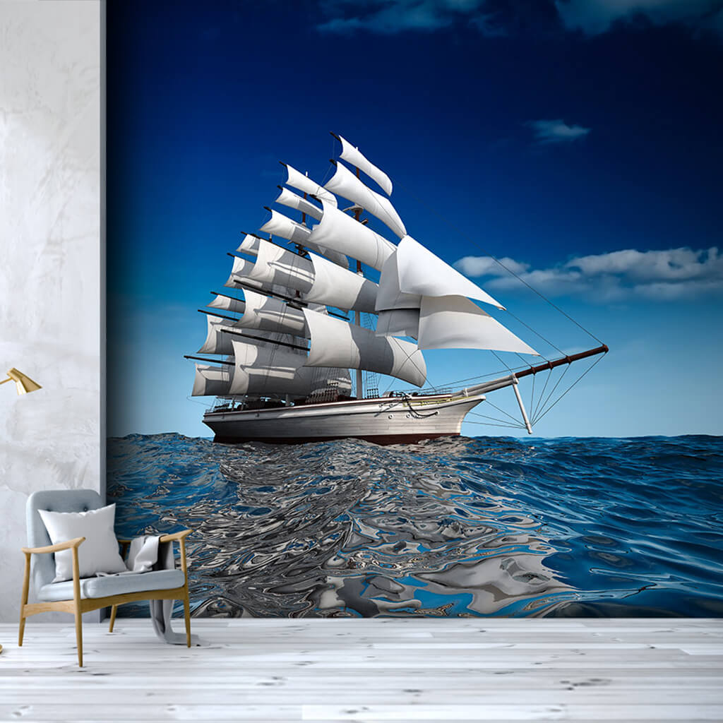 Blue Voyage 3 masted white sailing yacht custom wall mural