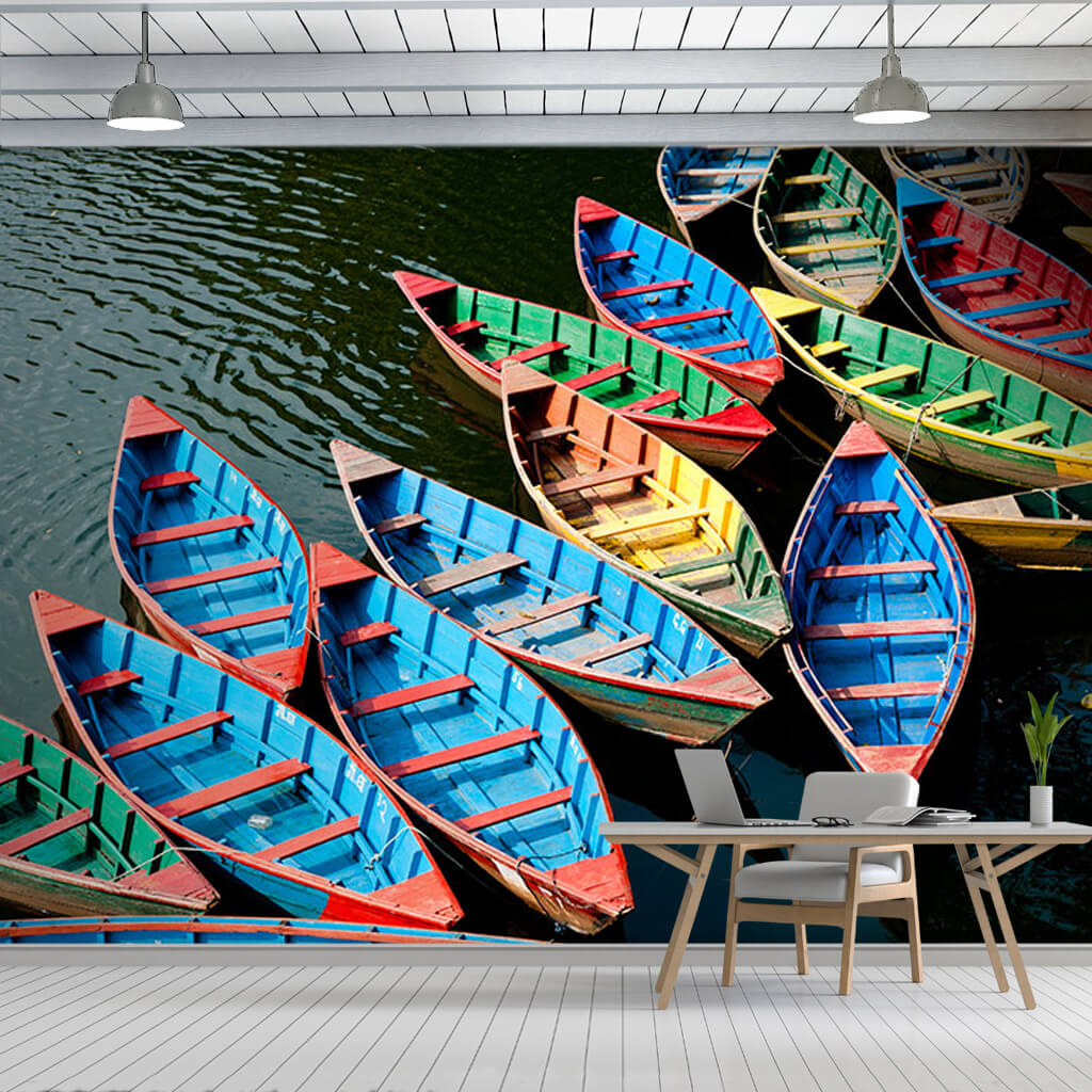 Colorful boats tied on shore in Phewa lake custom wall mural