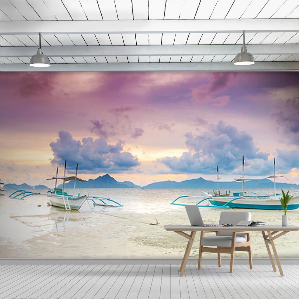 Balıkçı kayıkları kumsalda panaromik görsel duvar kağıdı