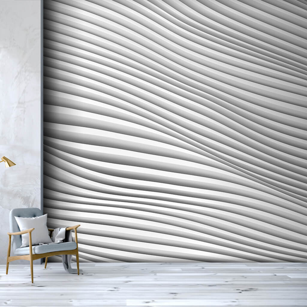 Architectural White Plaster Waves 3D Pattern wall mural