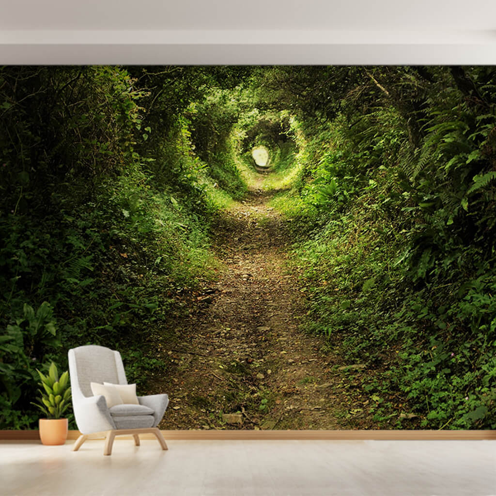 3D illustration of green forest plant tunnel 3D wall mural