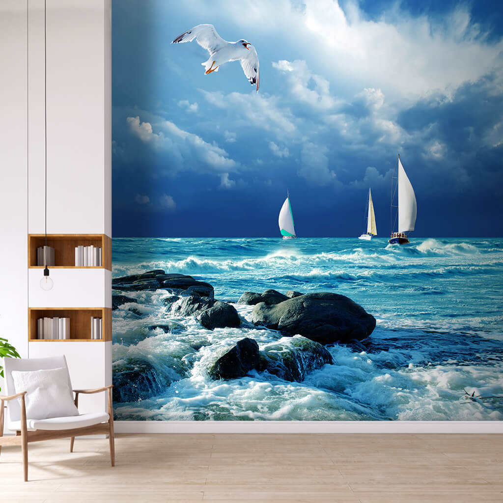 3 white sailboats and flying seagull in windy sea wall mural