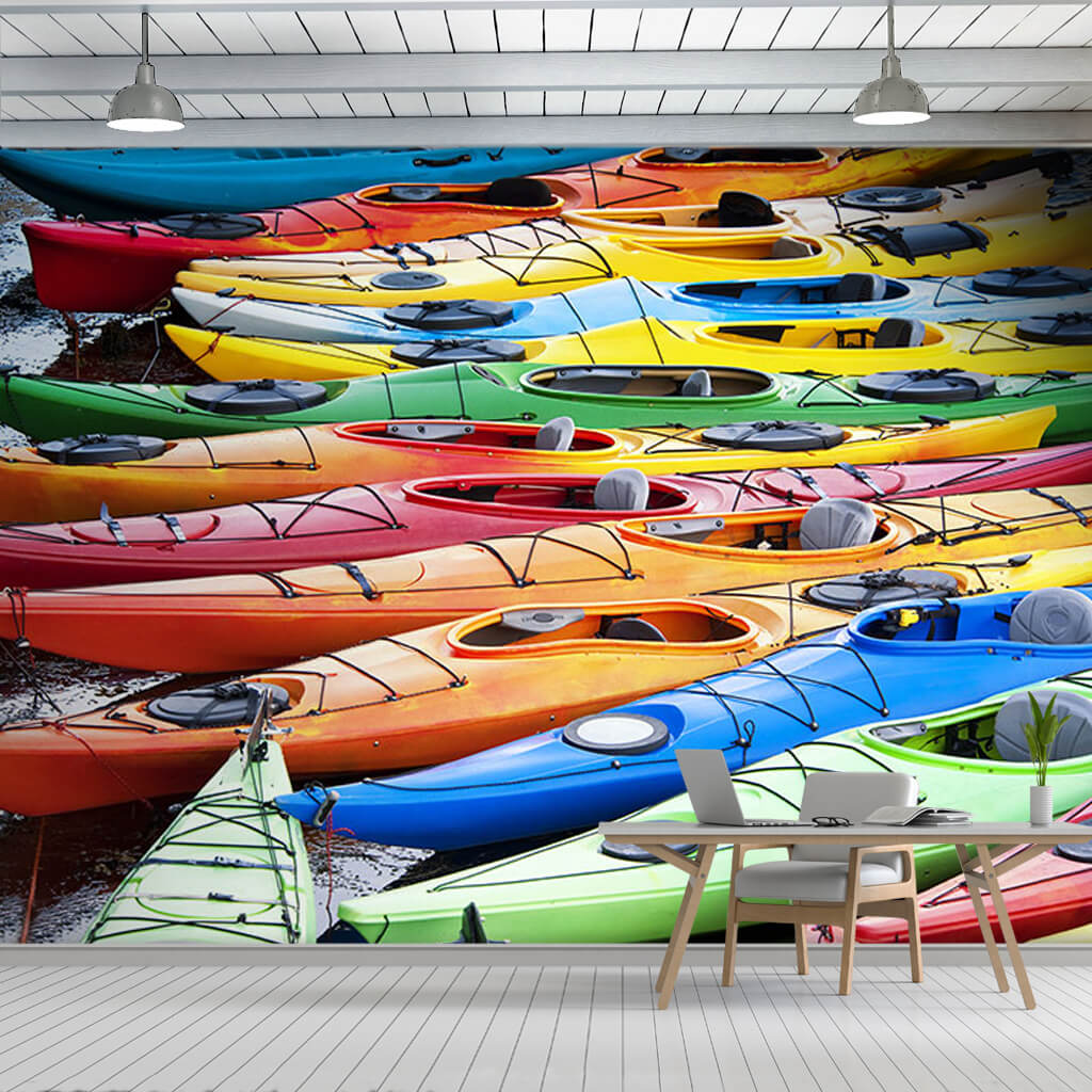Colorful skis canoes taken to the beach sea wall mural