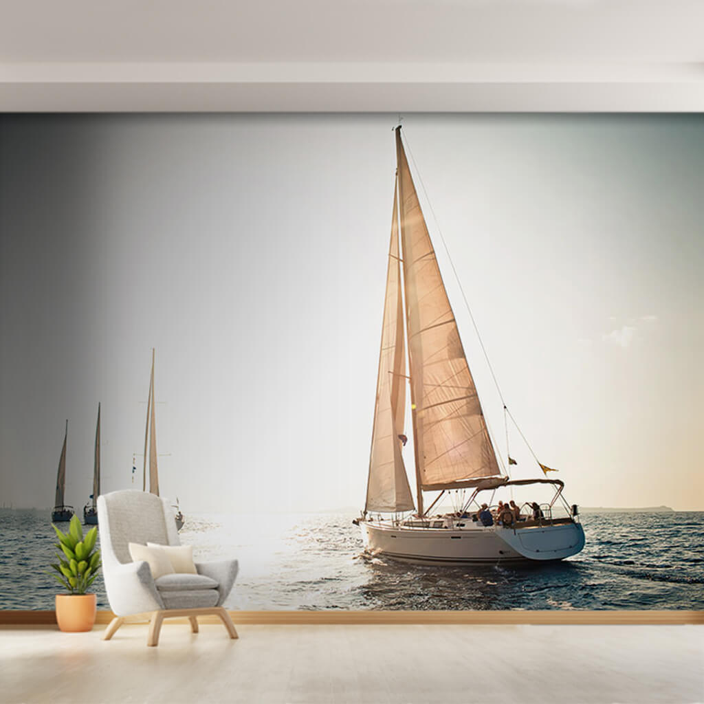 4 white sail boats in the wide sea yacht custom wall mural