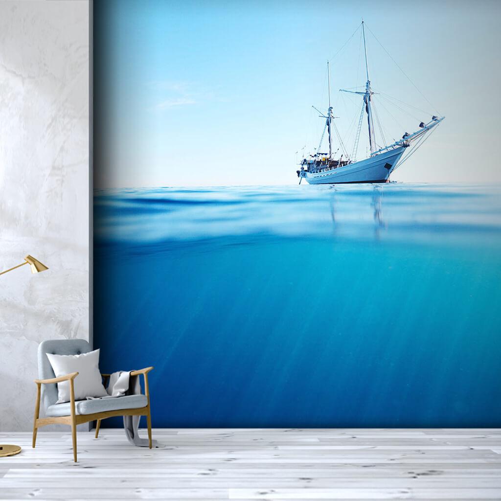 Çift direkli beyaz yelkenli tekne yat keç gulet duvar kağıdı