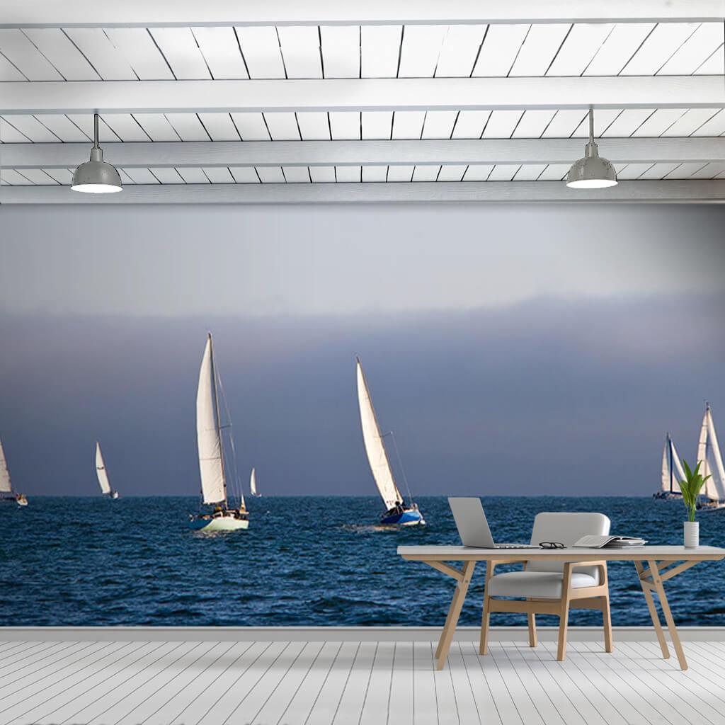 Açık denizde rüzgarla yol alan beyaz yelkenliler duvar kağıdı