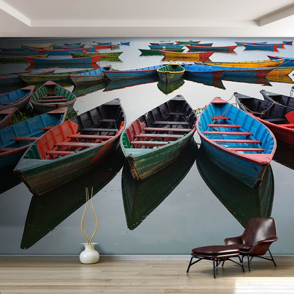 Blue green yellow red canoes at sea scalable wall mural