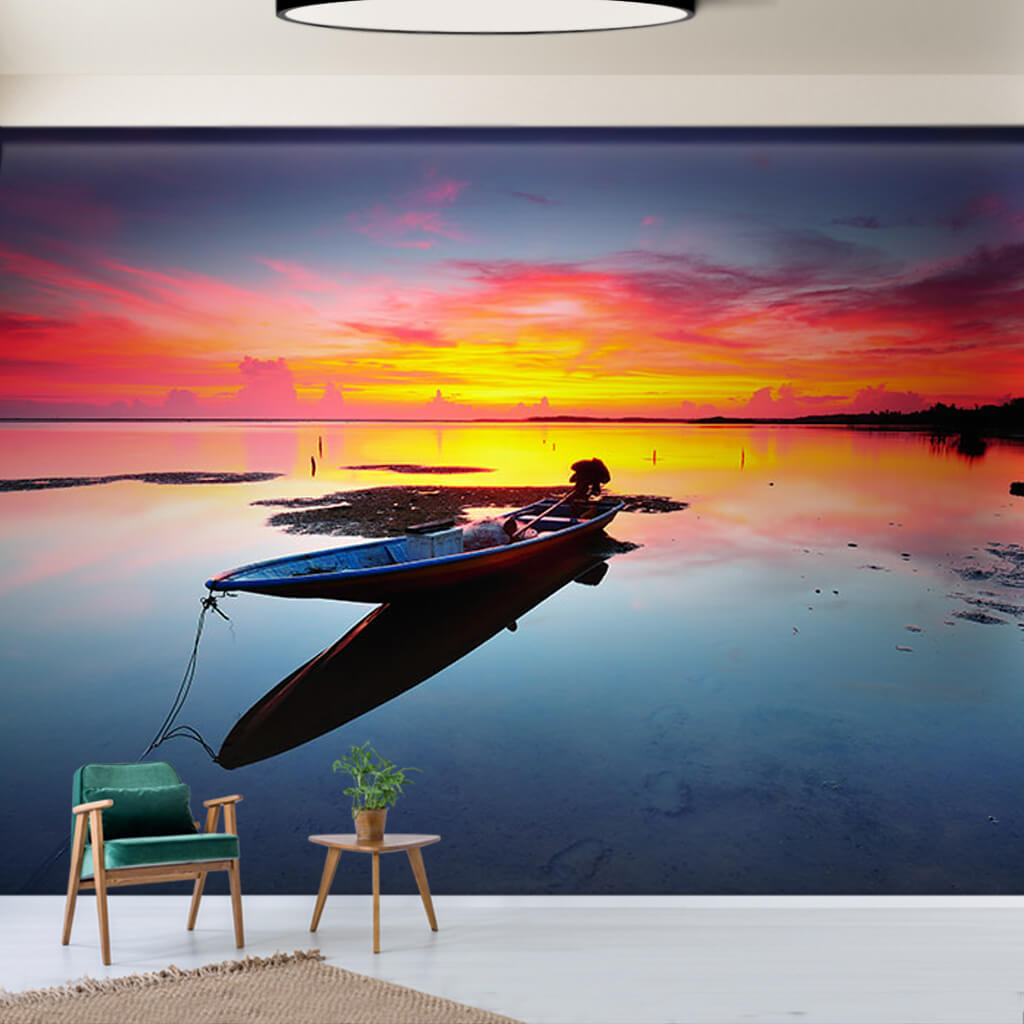 Long fishing boat at sea and colors at sunset wall mural