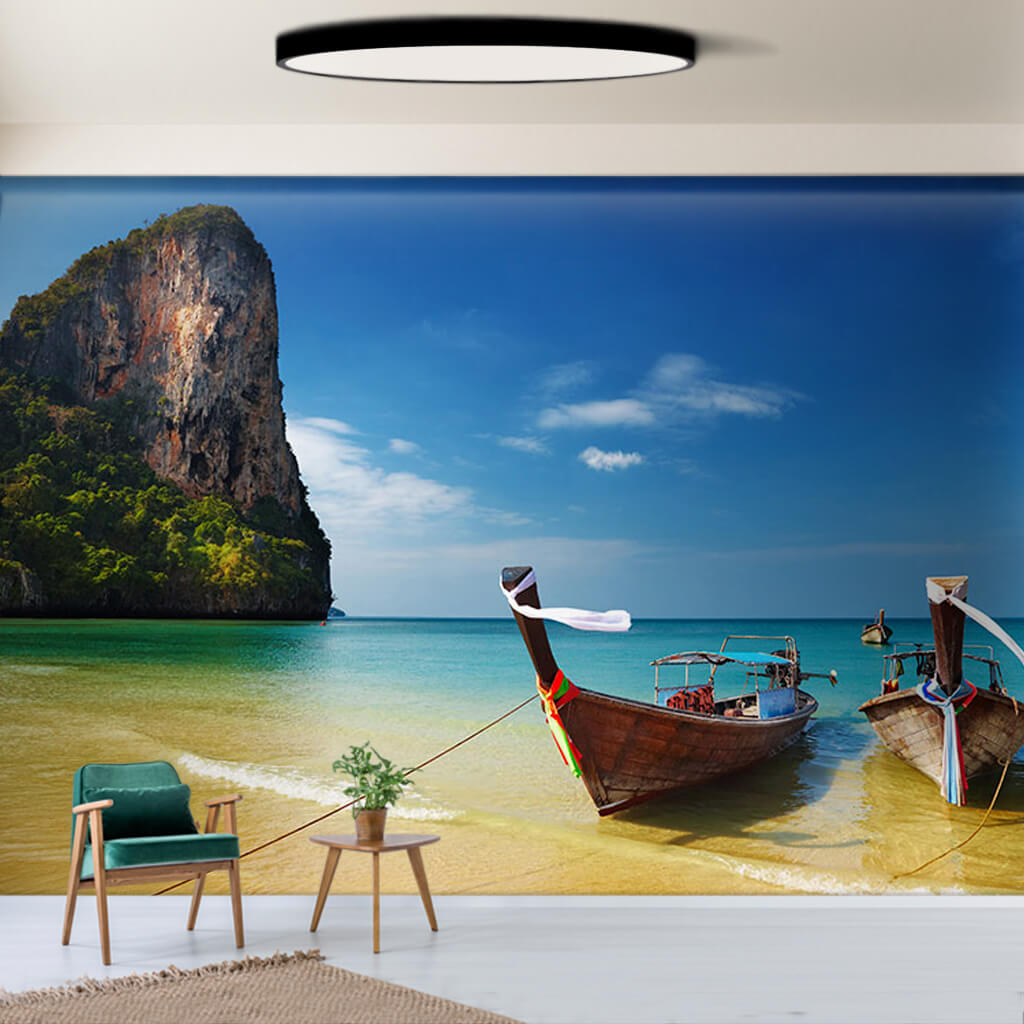 2 fishing boat at Railay beach Thailand wall mural