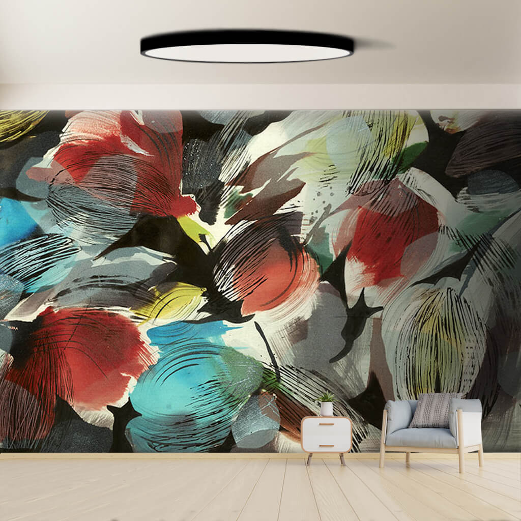 Colorful tulips modern art print scalable custom wall mural