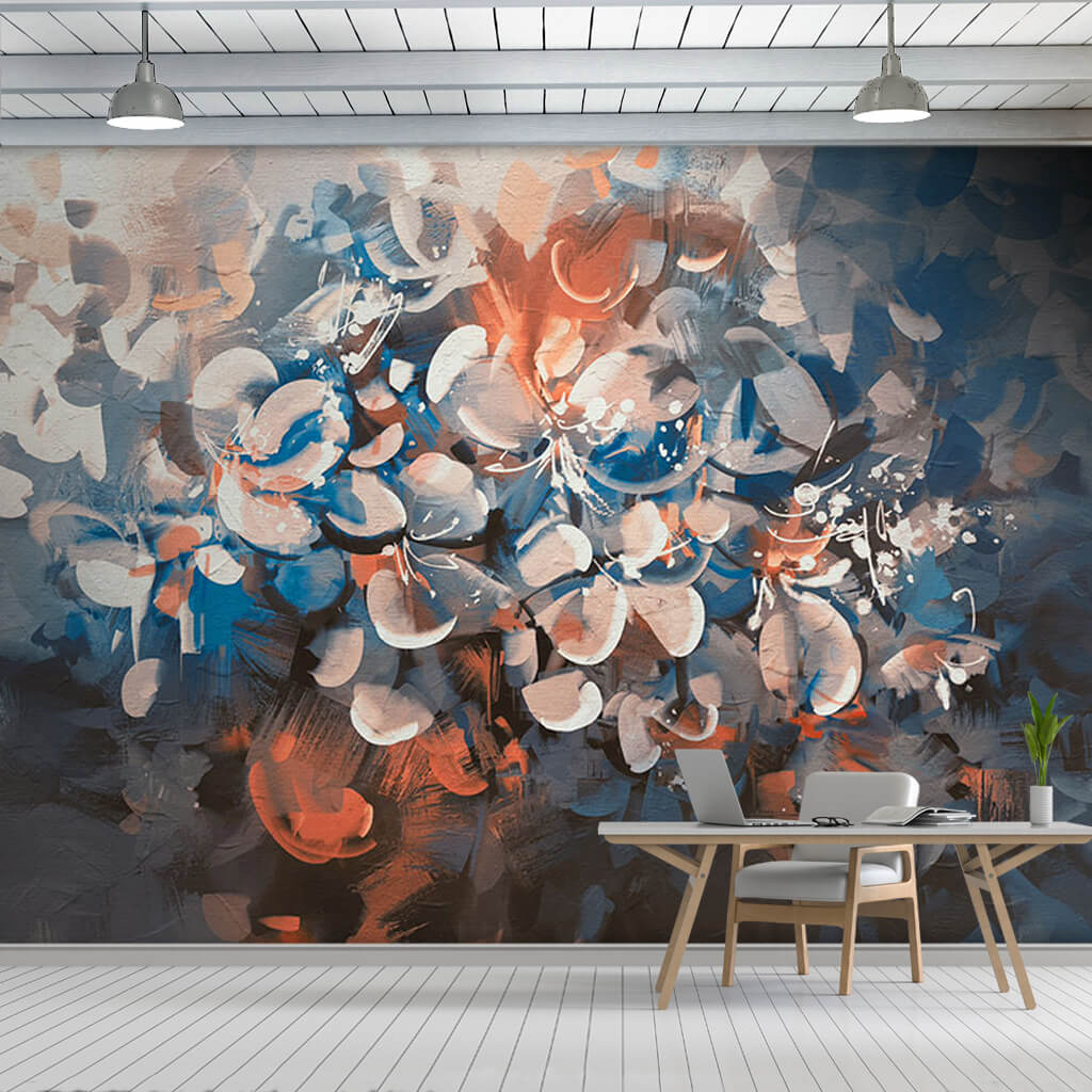 Abstract flowers with vintage colors leaves wall mural