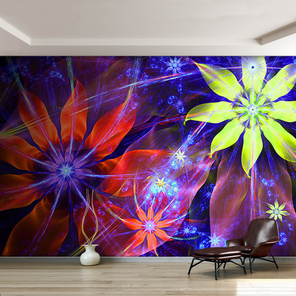 Bright neon purple colorful flowers picture wall mural