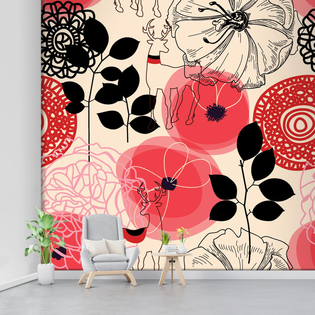 Linear red flowers and deer on yellow custom wall mural