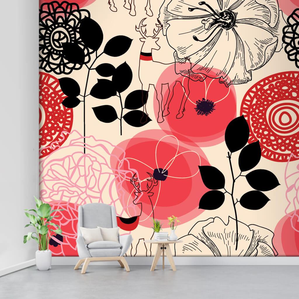 Sarı üzerine çizgisel kırmızı çiçekler ve geyik duvar kağıdı